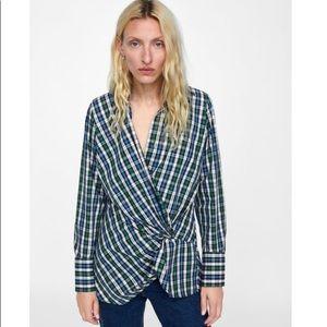 Zara Draped Plaid Shirt